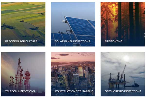 DJI Matrice Series - Application Verticals: Precision agriculture, solar panel inspections, firefighting, Telecom inspections, Construction site mapping, Offshore rig inspections