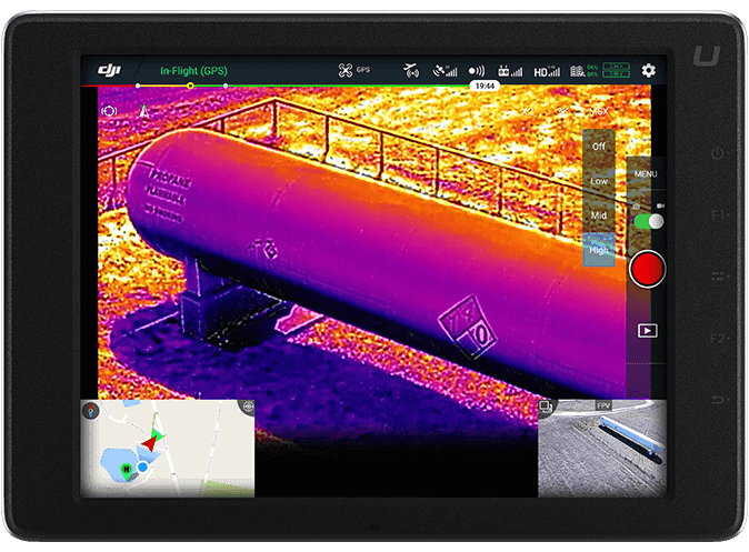 DJI FLIR Zenmuse XT2 HazMat Inspection Tablet View