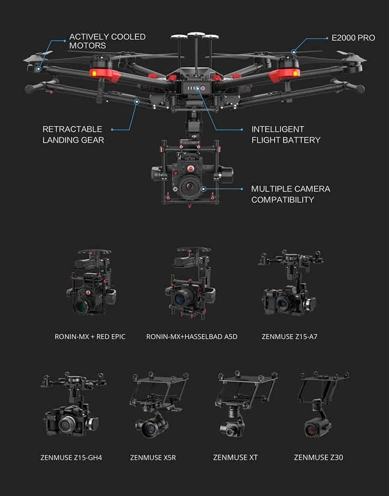 DJI Matrice 600 Pro - Aerial Imaging solution with multiple professional camera compatibility